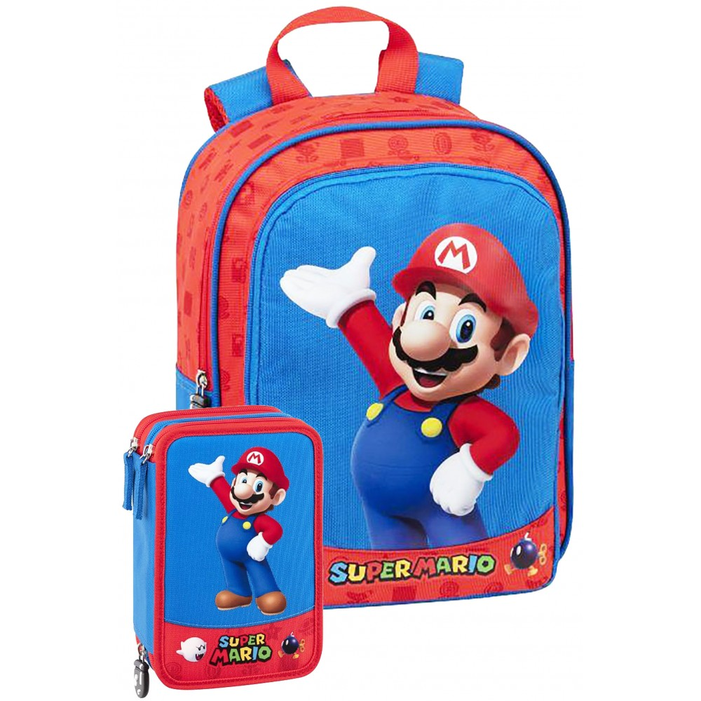 Schoolpack Zaino + Astuccio Super Mario