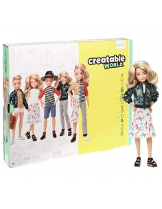 Creatable World Kit Deluxe Bambola Personalizzabile con Accessori, Capelli Biondi Corti